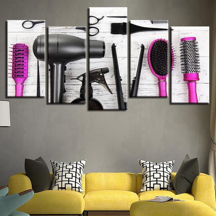 Beauty Salon 5 Panel Canvas Art Wall