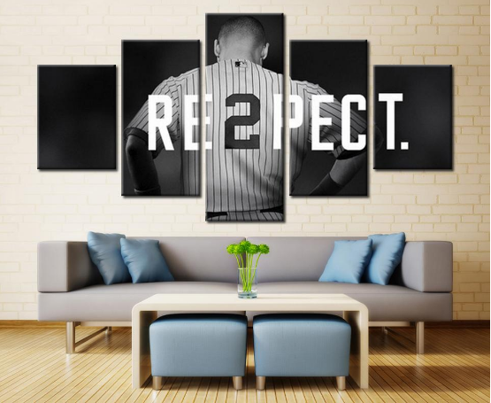 New York Yankees Captain Baseball Sport 5 Panel Canvas