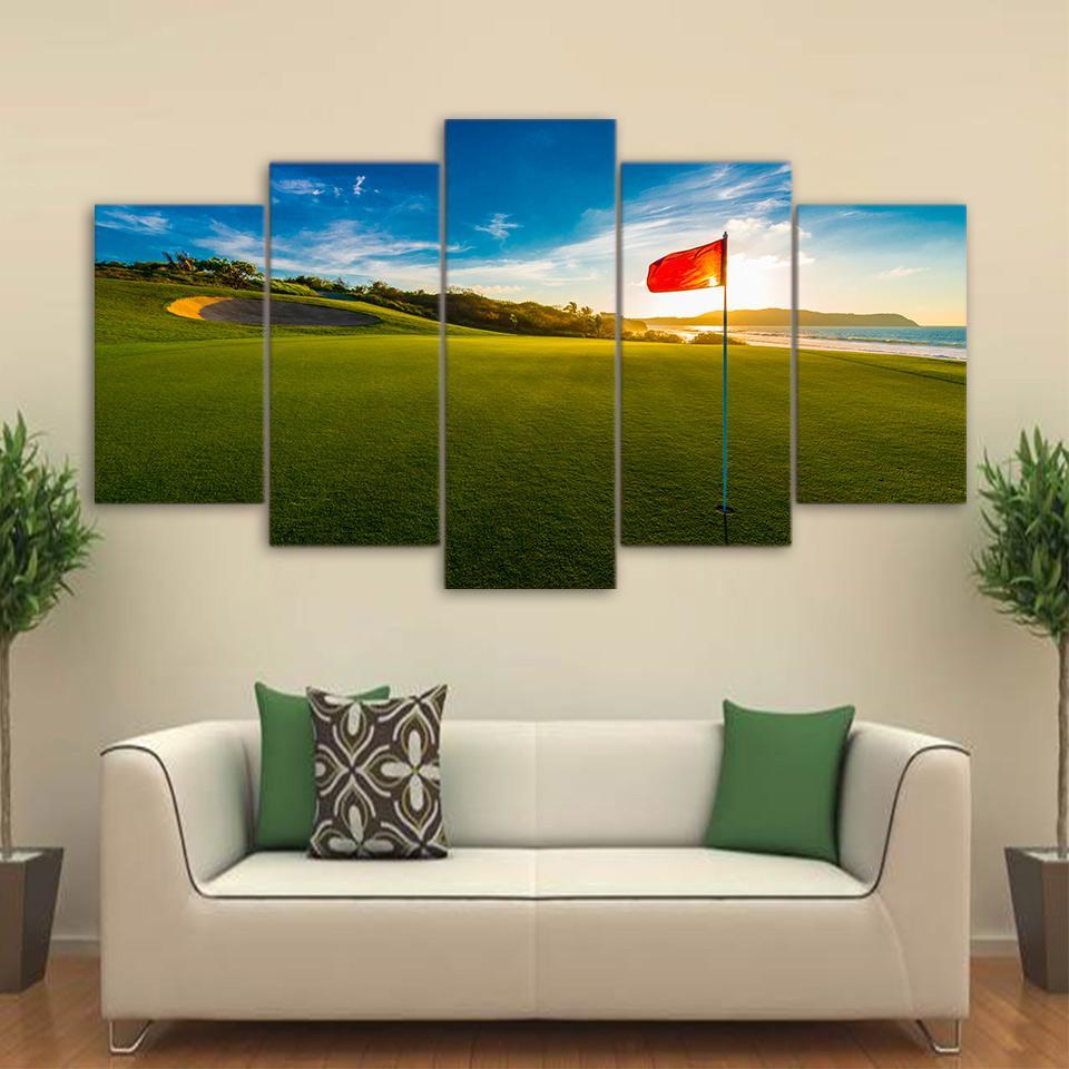 Sunset Golf Course 2 Nature 5 Panel Canvas Art Wall Decor