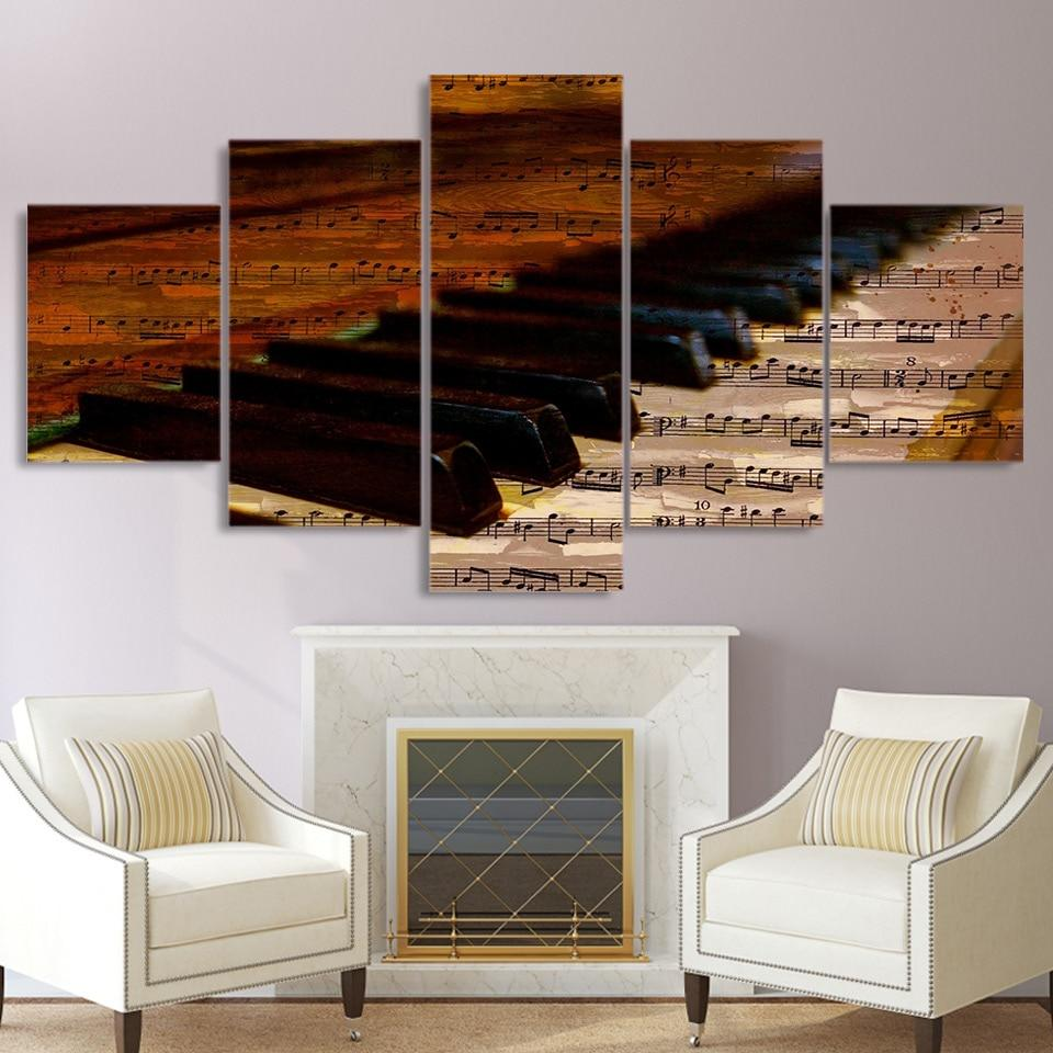 Piano Keyboard Music Notes Music 5 Panel Canvas Art Wall Decor