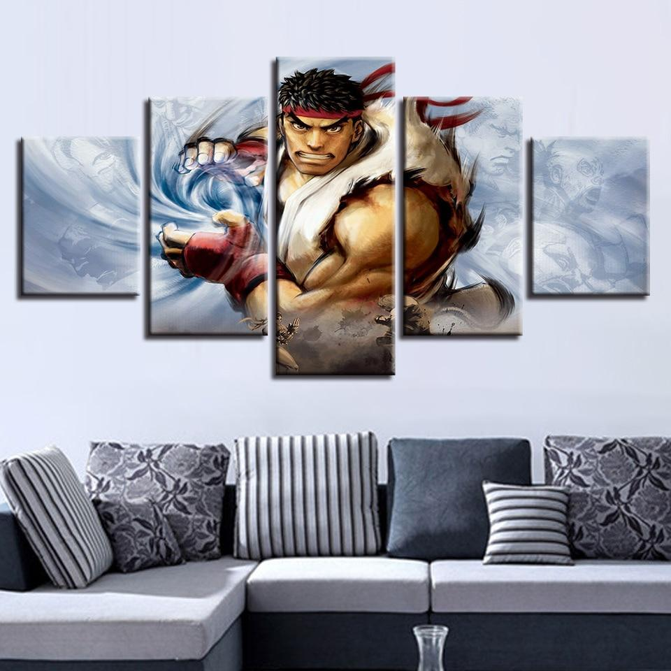 Street Fighter 31 Gaming 5 Panel Canvas Art Wall Decor Canvas