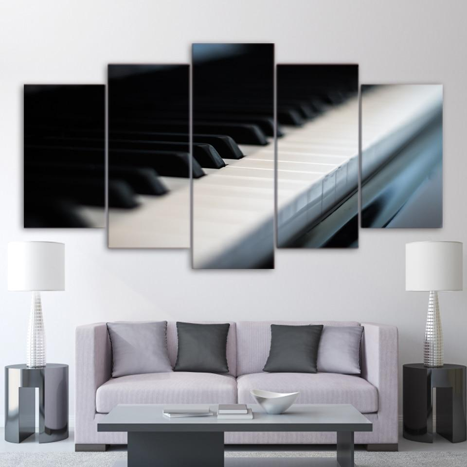 Clean Piano Key Music 5 Panel Canvas Art Wall Decor