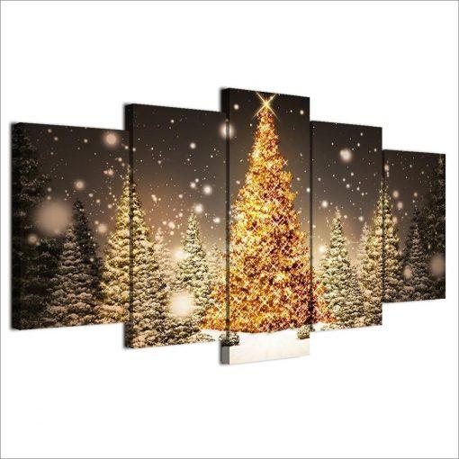 Christmas Tree Return Policy: Nature 5 Panel Canvas Art Wall