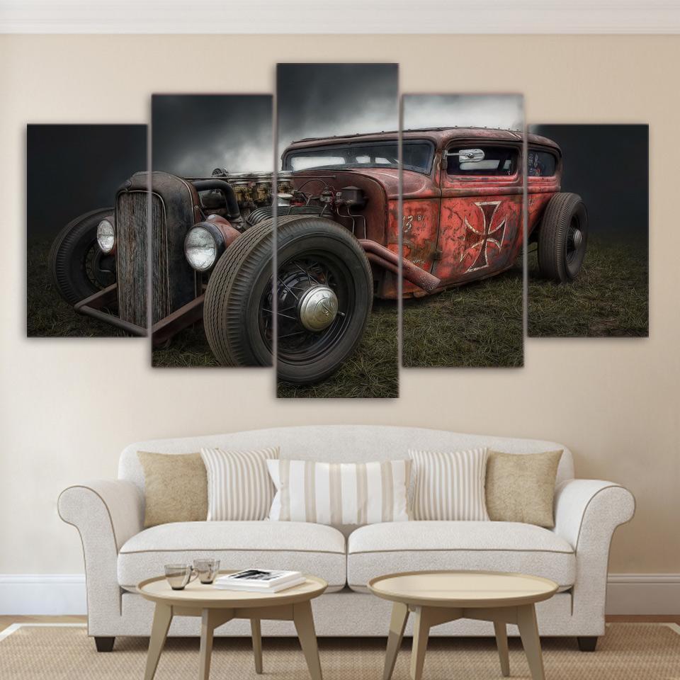 Antique Hot Rod Vintage Car - Automative 5 Panel Canvas Art Wall Decor