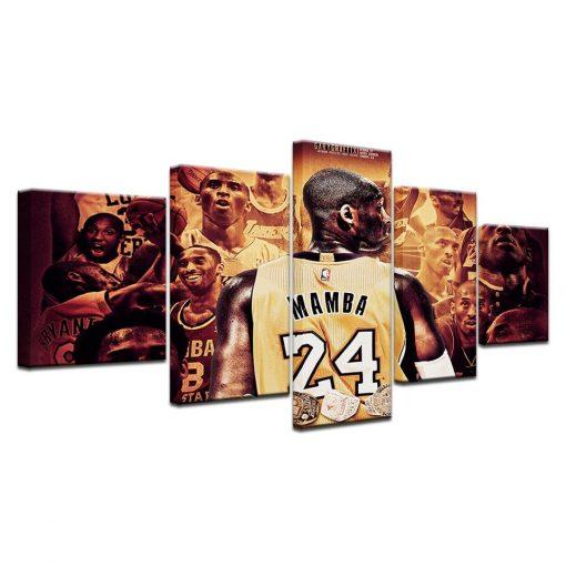 24 Kobe Bryant Basketball Player Sport 5 Panel Canvas Art Wall Decor Canvas Storm