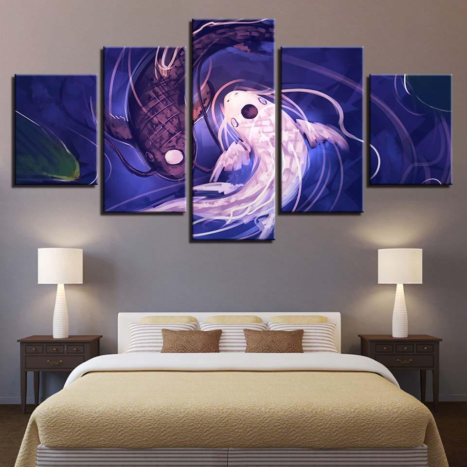 Colorful Koi Fish Group 5 Pieces Canvas Wall Artwork Picture Poster Home Decor