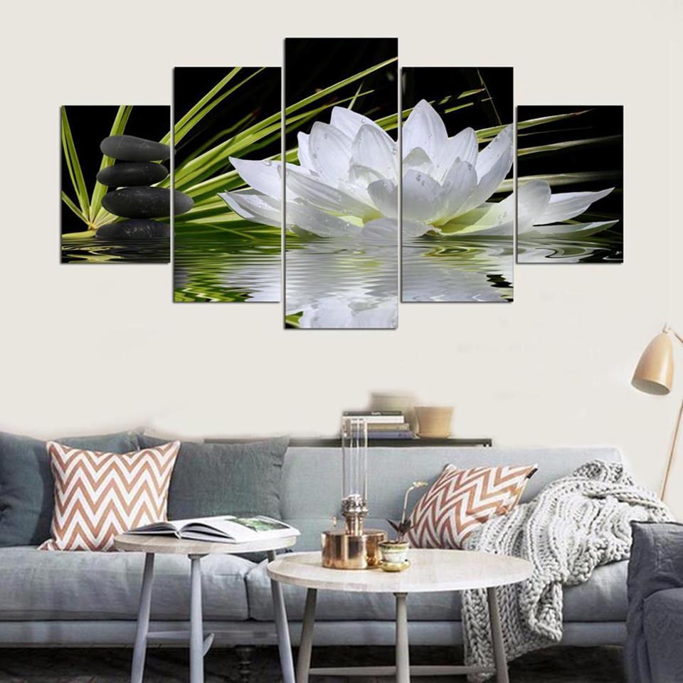 White Lotus Flower 1 Nature 5 Panel Canvas Art Wall Decor
