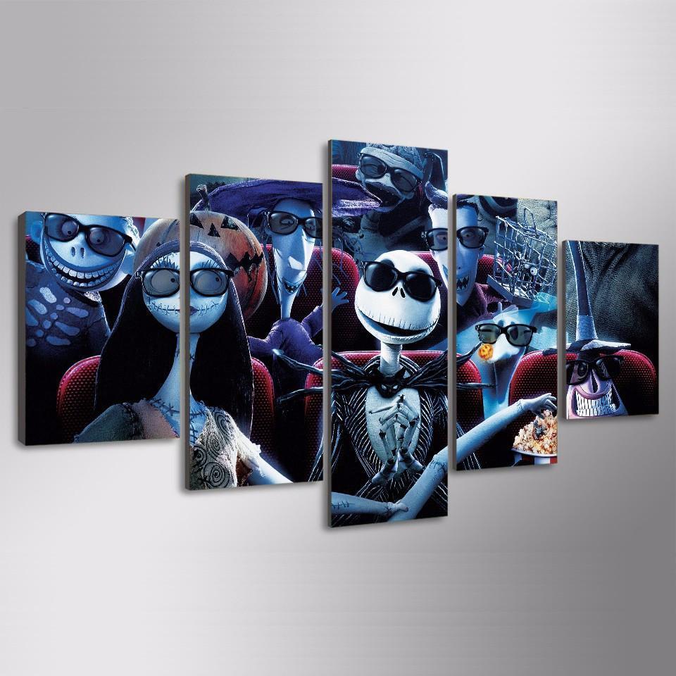 Nightmare Before Christmas Theatre Movie 5 Panel Canvas Art Wall Decor