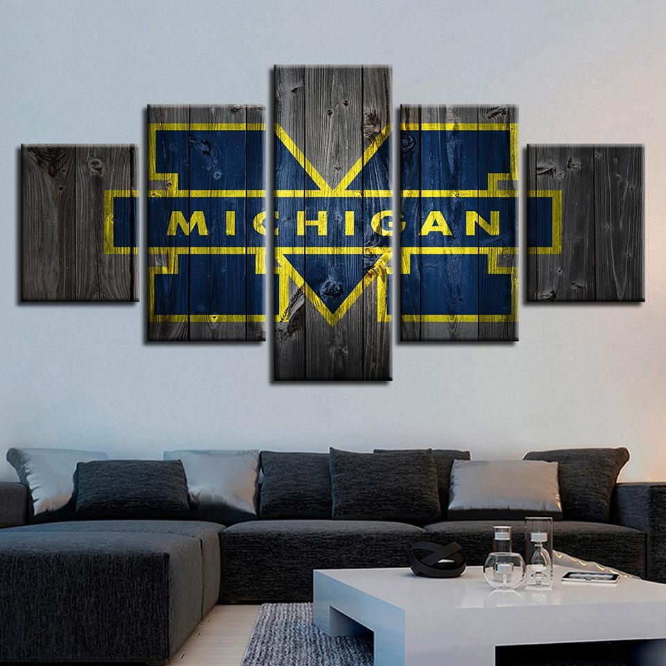 Michigan Wolverines Barnwood Sport 5 Panel Canvas Art Wall Decor
