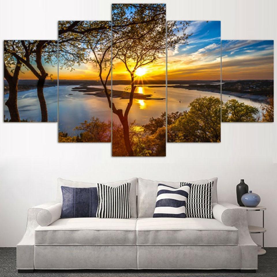 Beautiful Sunrise Lakeview - Nature 5 Panel Canvas Art ...