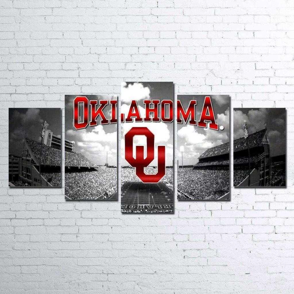 Oklahoma Sooners Sport 5 Panel Canvas Art Wall Decor Canvas Storm