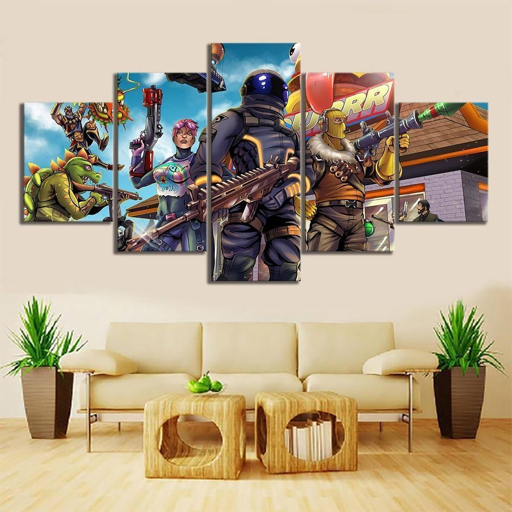 Draw Comic Fortnite Gaming 5 Panel Canvas Art Wall Decor