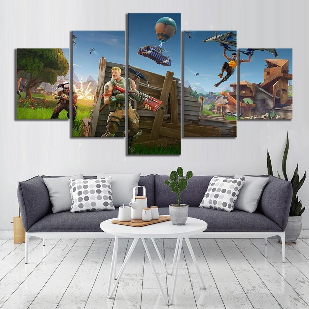 Game Backgrounds Fortnite 01 Gaming 5 Panel Canvas Art Wall Decor Canvas Storm