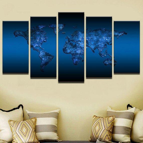 Royal Blue World Abstract 5 Panel Canvas Art Wall Decor Canvas Storm