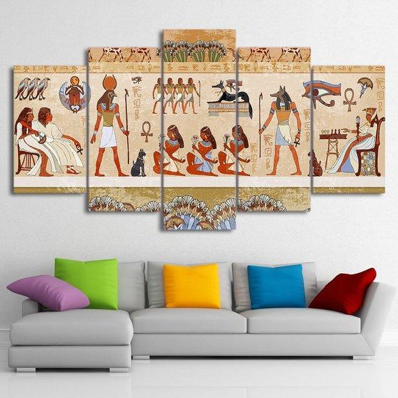 Ancient Egyptian Canvas, Ancient Egypt , Religion 5 Panel Canvas Art Wall  Decor