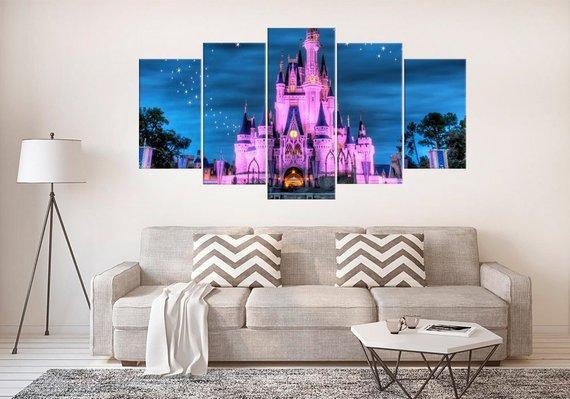 Large Disney Castle Disney 5 Panel Canvas Art Wall Decor