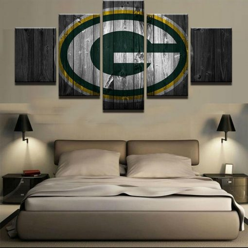 Green Bay Packers Football Sport 5 Panel Canvas Art Wall