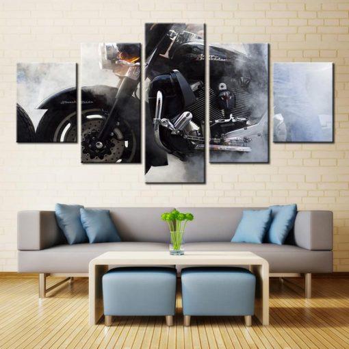 Harley Davidson Motorcycle Smoke Sport 5 Panel Canvas