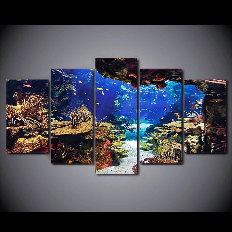 Underwater Sea Fish Coral Reefs Ocean 5 Panel Canvas Art