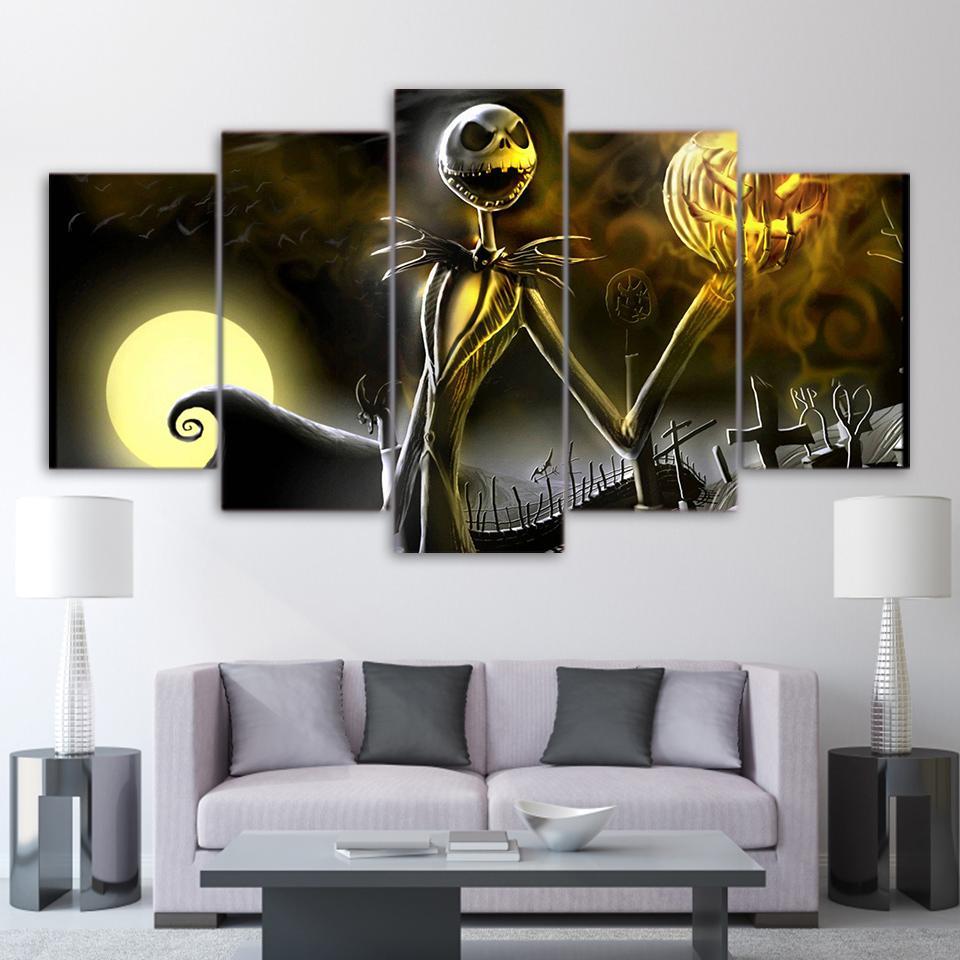 The Nightmare Before Christmas Jack Skellington 00 Halloween Movie 5 Panel Canvas Art Wall Decor