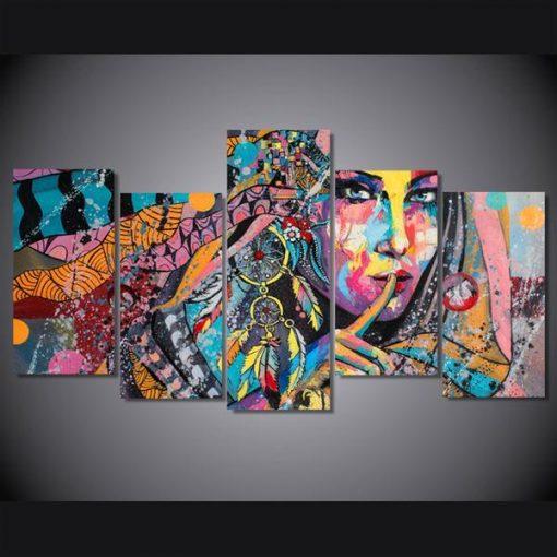Dreamcatcher Woman Girl Abstract 5 Panel Canvas Art Wall Decor