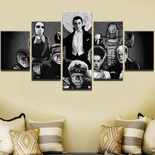 Classic Horror Movie Monsters Movie 5 Panel Canvas Art