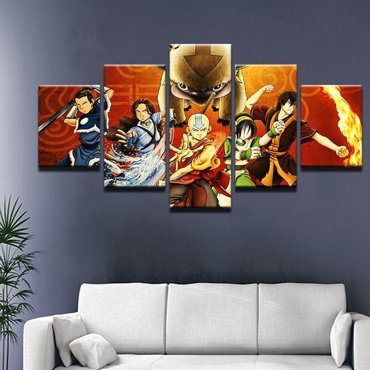 Avatar The Last Airbender Cartoon 5 Panel Canvas Art Wall Decor Canvas Storm