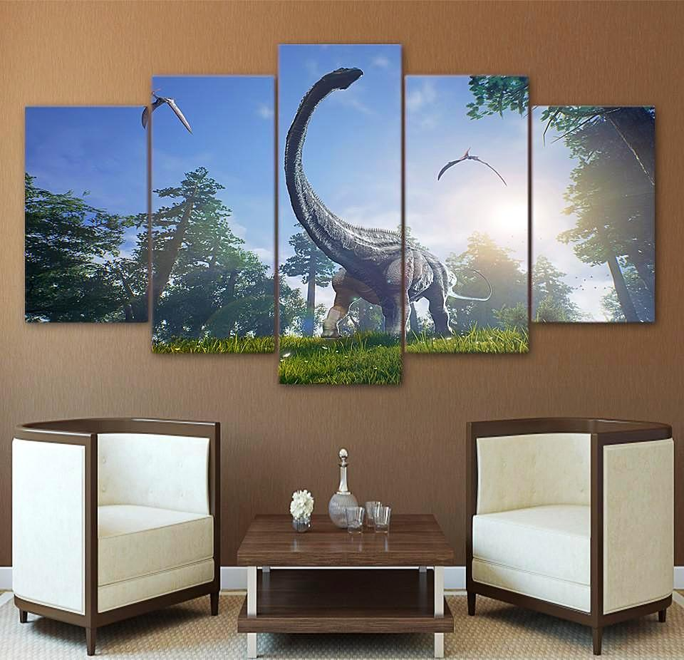 Brachiosaurus jurassic park 5 panel canvas art wall decor