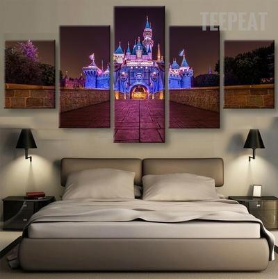 Disney Castle At Night Time Cartoon 5 Panel Canvas Art Wall Decor Canvas Storm