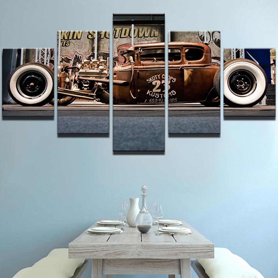 Old Vintage Car - Automative 5 Panel Canvas Art Wall Decor