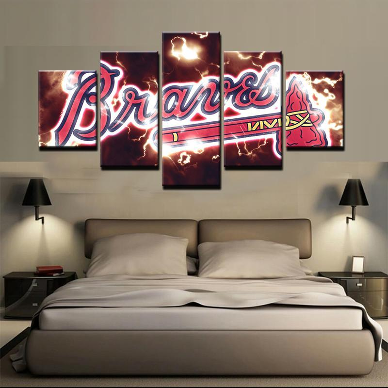 Atlanta Braves 4 - Sport 5 Panel Canvas Art Wall Decor - Canvas Storm