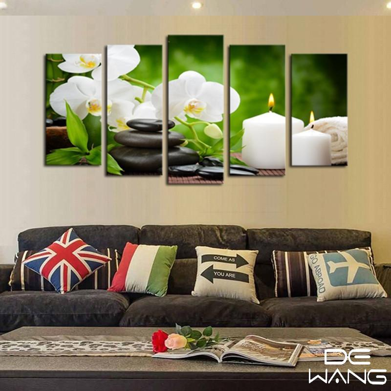 Massage Hot Stones And Flowers - Nature 5 Panel Canvas Art Wall Decor - Canvas Storm