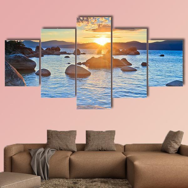BEAUTIFUL LAKE TAHOE SUNSET LANDSCAPE BOX CANVAS PRINT WALL ART PICTURE