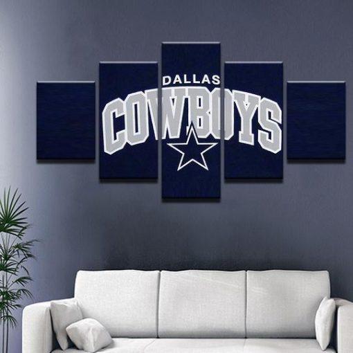 Dallas Cowboys Football Canvas Wall Art: Sport 5 Panel Canvas Art Wall Decor-CV
