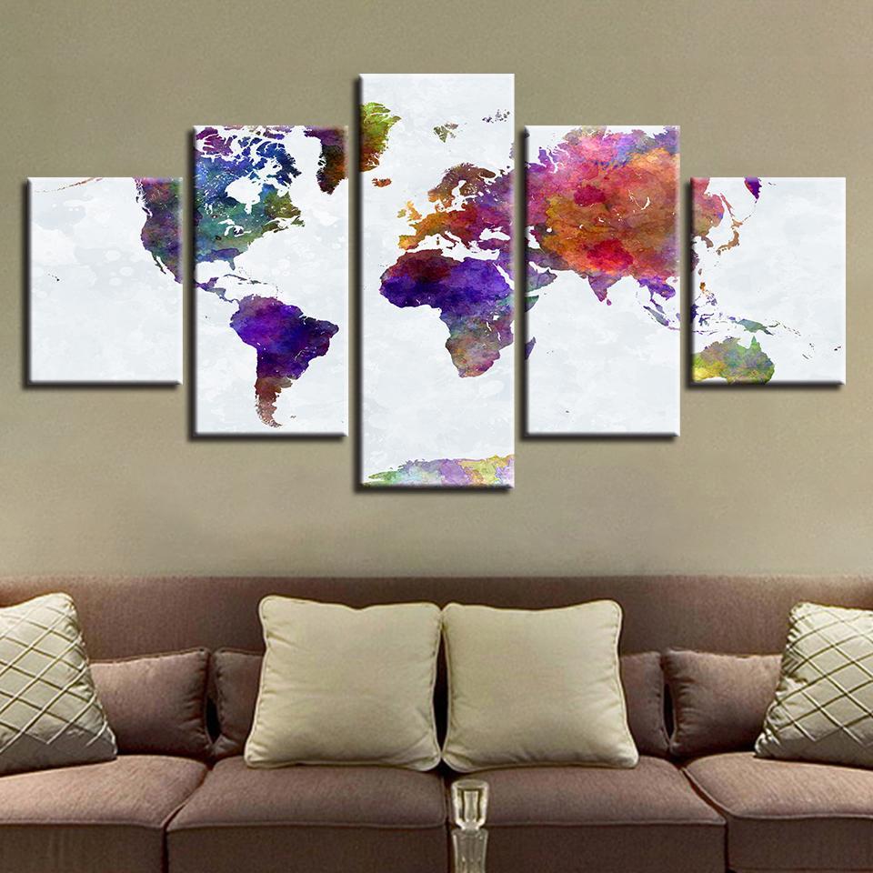 Colorful Abstract Graffiti World Map Abstract 5 Panel Canvas Art Wall Decor