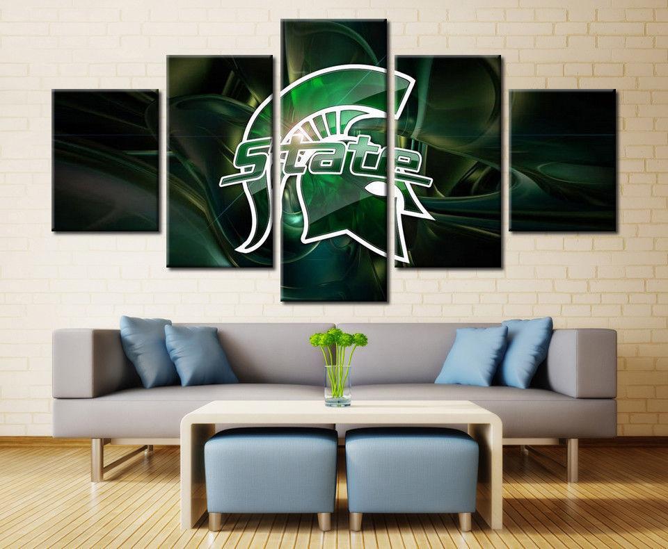 Michigan State Spartans Sport 5 Panel Canvas Art Wall Decor Cv Canvas Storm