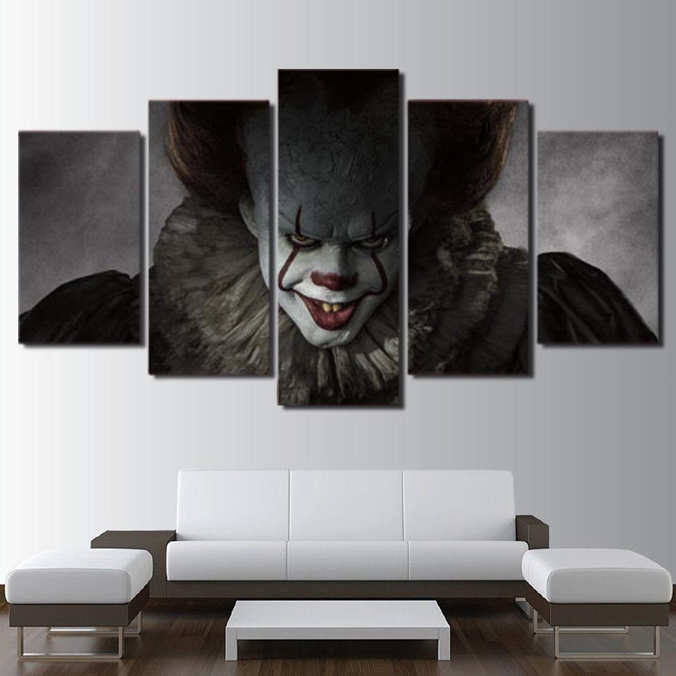 Pennywise Clown It Horror Scary Movie 5 Panel Canvas Art