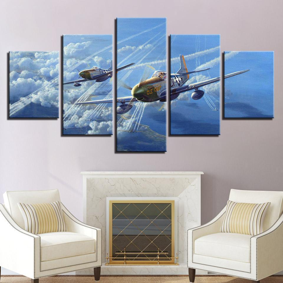 Abstract Jet Aircraft Vintage Plane Airplane 5 Panel
