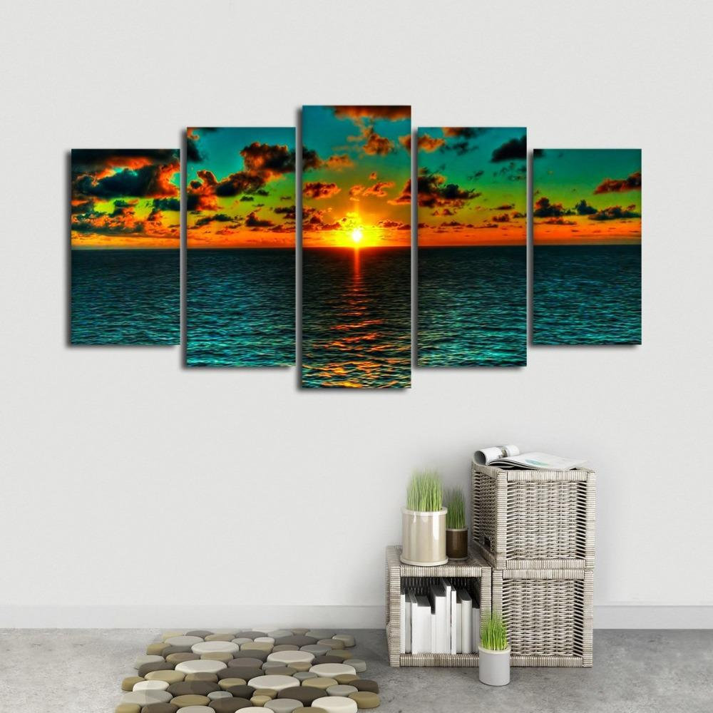 Sunrise View Sea Landscape Nature 5 Panel Canvas Art Wall Decor