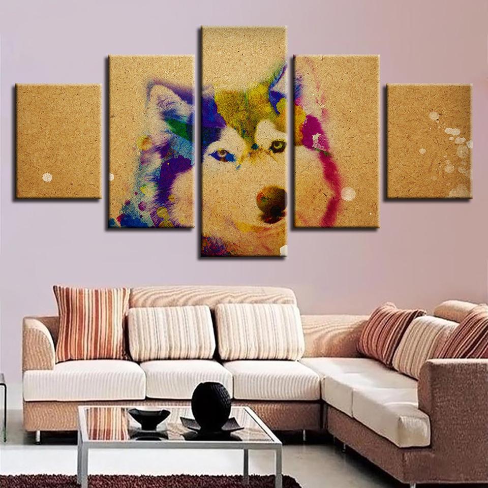 Animal 5 Panel Canvas Art Wall Decor