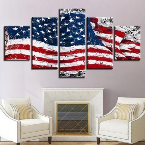Retro American Flag Abstract 5 Panel Canvas Art Wall Decor