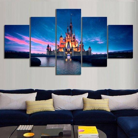Disney Castle Disney 5 Panel Canvas Art Wall Decor Cv