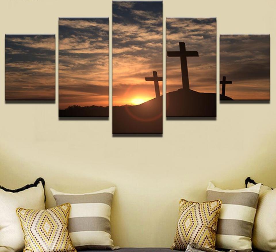 Christian Sunset Cross - Religion 5 Panel Canvas Art Wall ...
