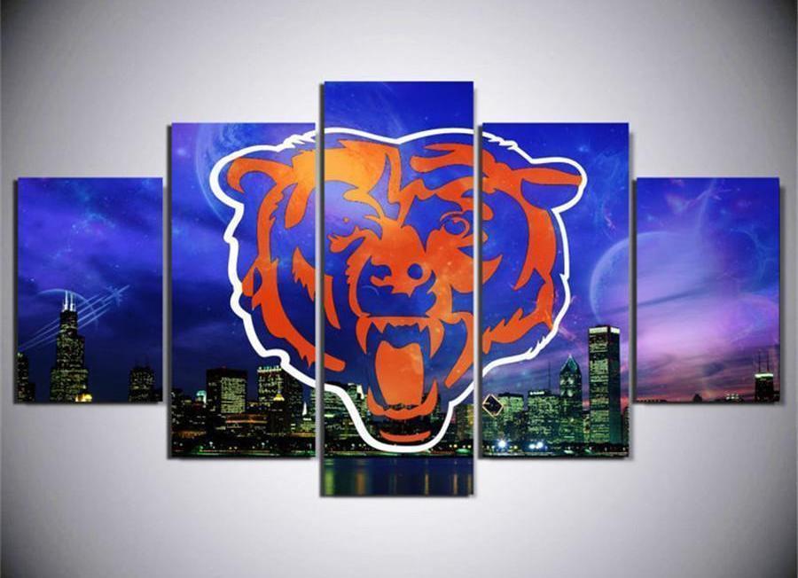 Chicago Bears Logo Poster Football 5 Panel Canvas Art Wall Decor