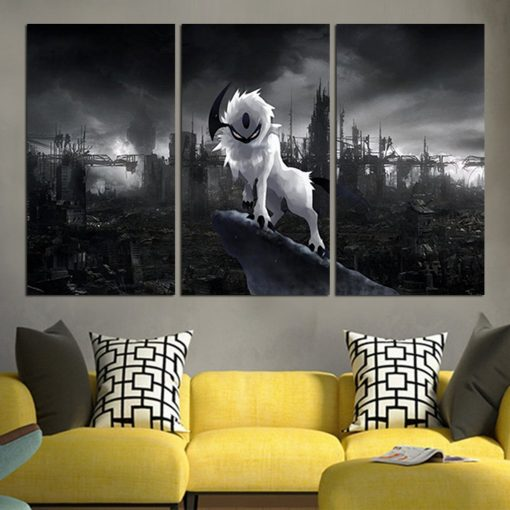 23087-NF Pokemon Absol Black And White Anime 3 Pieces - 3 Panel Canvas Art Wall Decor