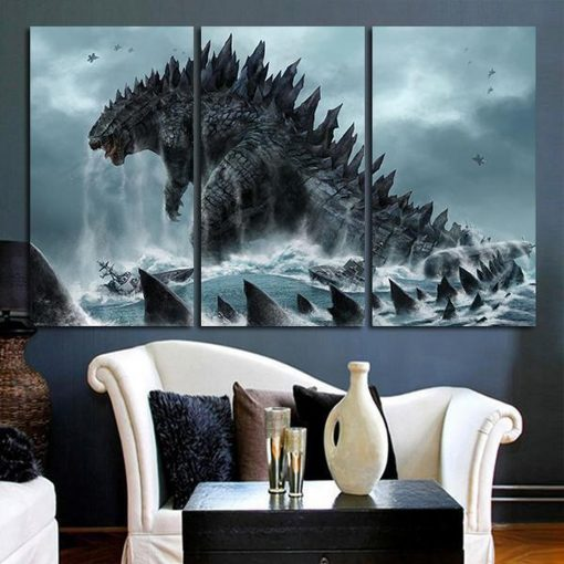 23086-NF Godzilla King Of Monsters Movie 3 Pieces - 3 Panel Canvas Art Wall Decor