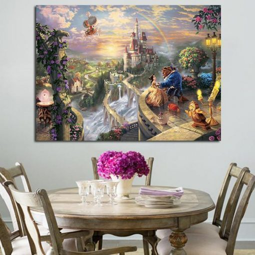 22797-NF Beauty And The Beast Belle Castle Movie 1 Piece - 1 Panel Canvas Art Wall Decor