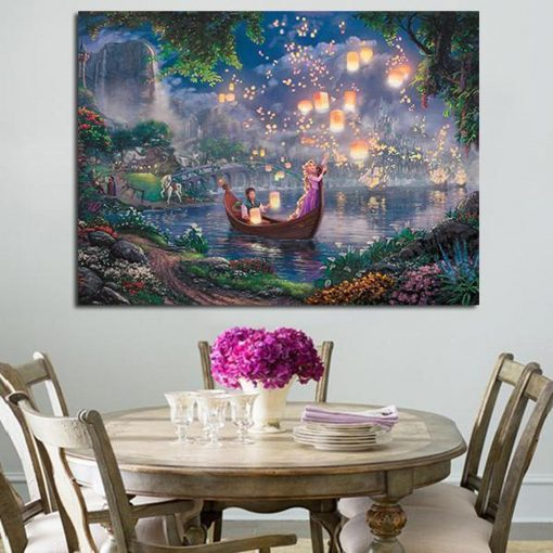 23084-NF Rapunzel And Flynn Rider On A Boat Disney 1 Piece - 1 Panel Canvas Art Wall Decor