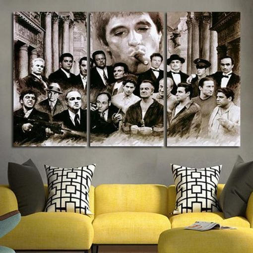 23078-NF The Godfather Characters Movie 3 Pieces - 3 Panel Canvas Art Wall Decor