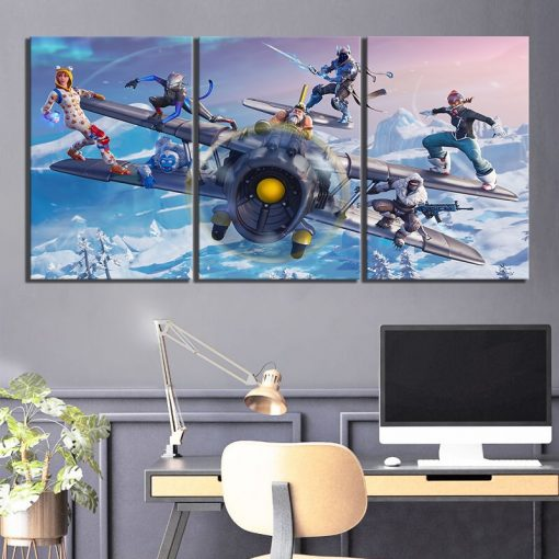 22836-NF Battle On The Aircraft Fortnite Gaming 3 Pieces - 3 Panel Canvas Art Wall Decor